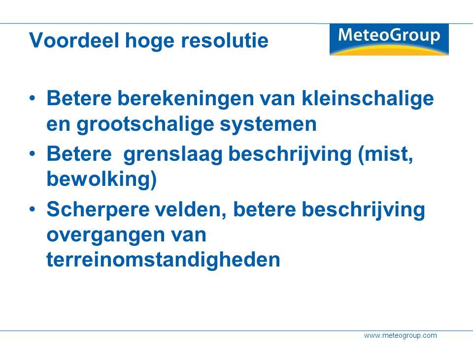 www.meteogroup.com Maar Veel data Springerige modellen Risico hogere false alarm / miss rate (tijdreeksen misleidend, maar hoe communiceer je dat dan wel?)