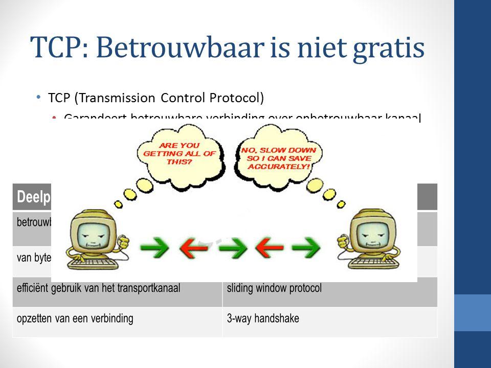 TCP: Betrouwbaar is niet gratis TCP (Transmission Control Protocol) Garandeert betrouwbare verbinding over onbetrouwbaar kanaal Moet een aantal problemen tackelen.