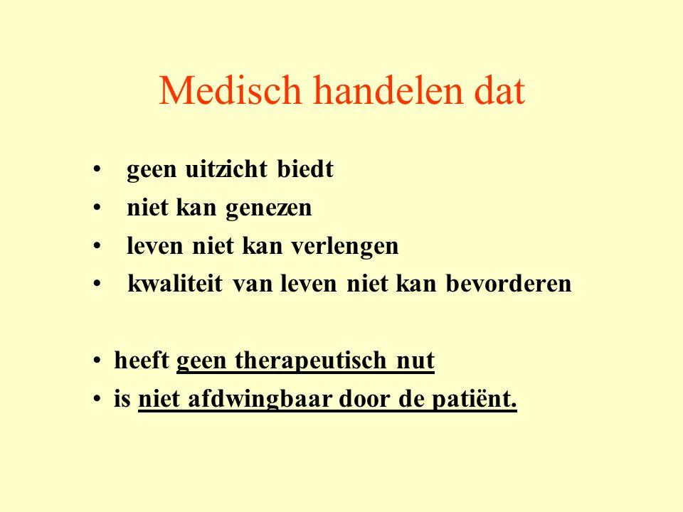 Zinloos medisch handelen Effectiviteit / werkzaamheid van een behandeling  kansloos Medisch oordeel informatieplicht (codex) Disproportionele behandeling: burden/benefit Waarde oordeel participatie patiënt