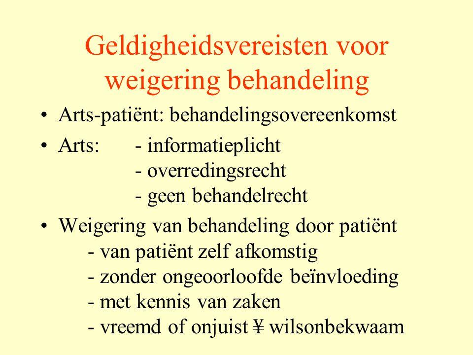 Medisch handelen Het nalaten of staken van een medisch zinloze behandeling vereist geen toestemming Het aanhouden van een medisch zinloze behandeling kan eerder als een inbreuk op de fysieke integriteit beschouwd worden.