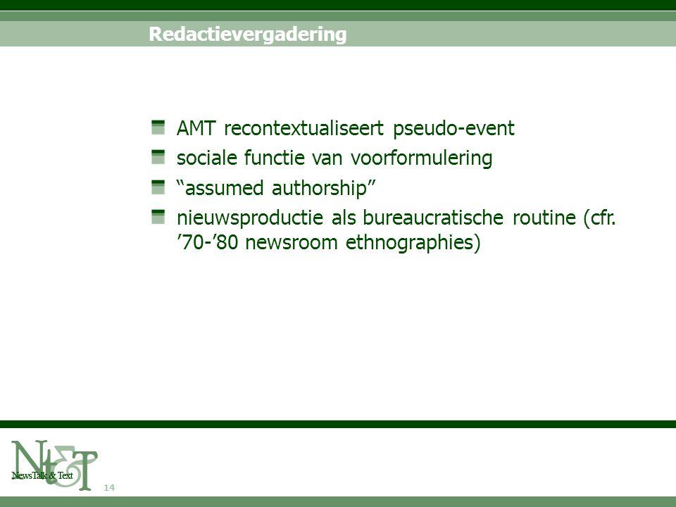 14 Redactievergadering AMT recontextualiseert pseudo-event sociale functie van voorformulering assumed authorship nieuwsproductie als bureaucratische routine (cfr.