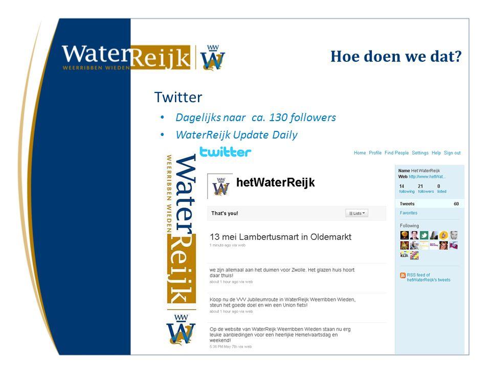 Hoe doen we dat Twitter Dagelijks naar ca. 130 followers WaterReijk Update Daily