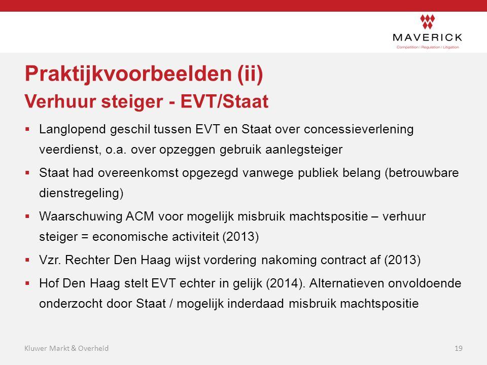 Praktijkvoorbeelden (ii) Verhuur steiger - EVT/Staat  Langlopend geschil tussen EVT en Staat over concessieverlening veerdienst, o.a. over opzeggen g