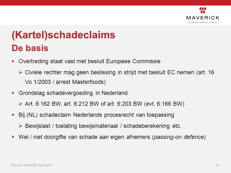 (Kartel)schadeclaims De basis  Overtreding staat vast met besluit Europese Commissie  Civiele rechter mag geen beslissing in strijd met besluit EC n
