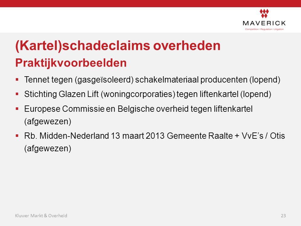 (Kartel)schadeclaims overheden Praktijkvoorbeelden  Tennet tegen (gasgeïsoleerd) schakelmateriaal producenten (lopend)  Stichting Glazen Lift (wonin