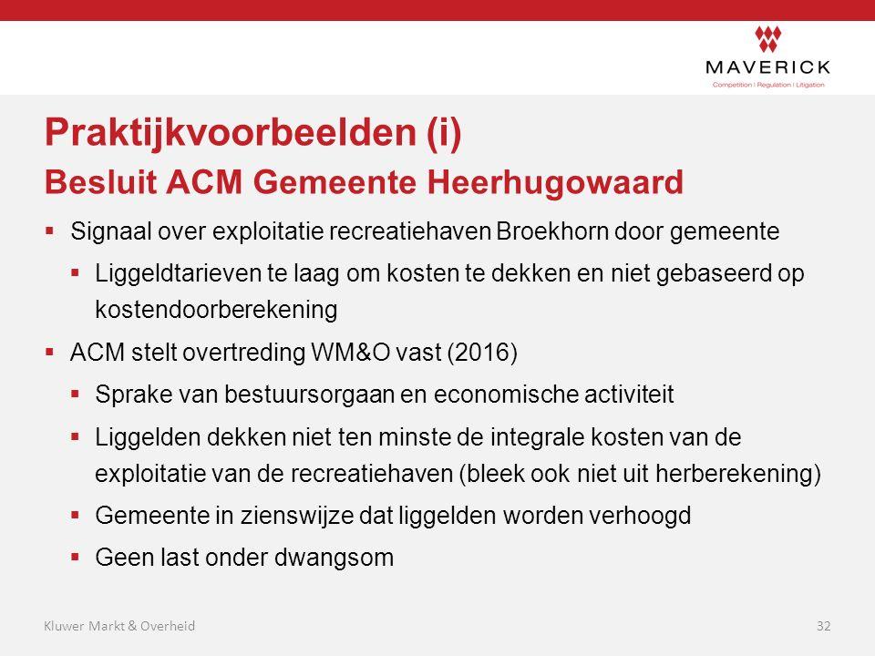 Praktijkvoorbeelden (i) Besluit ACM Gemeente Heerhugowaard  Signaal over exploitatie recreatiehaven Broekhorn door gemeente  Liggeldtarieven te laag