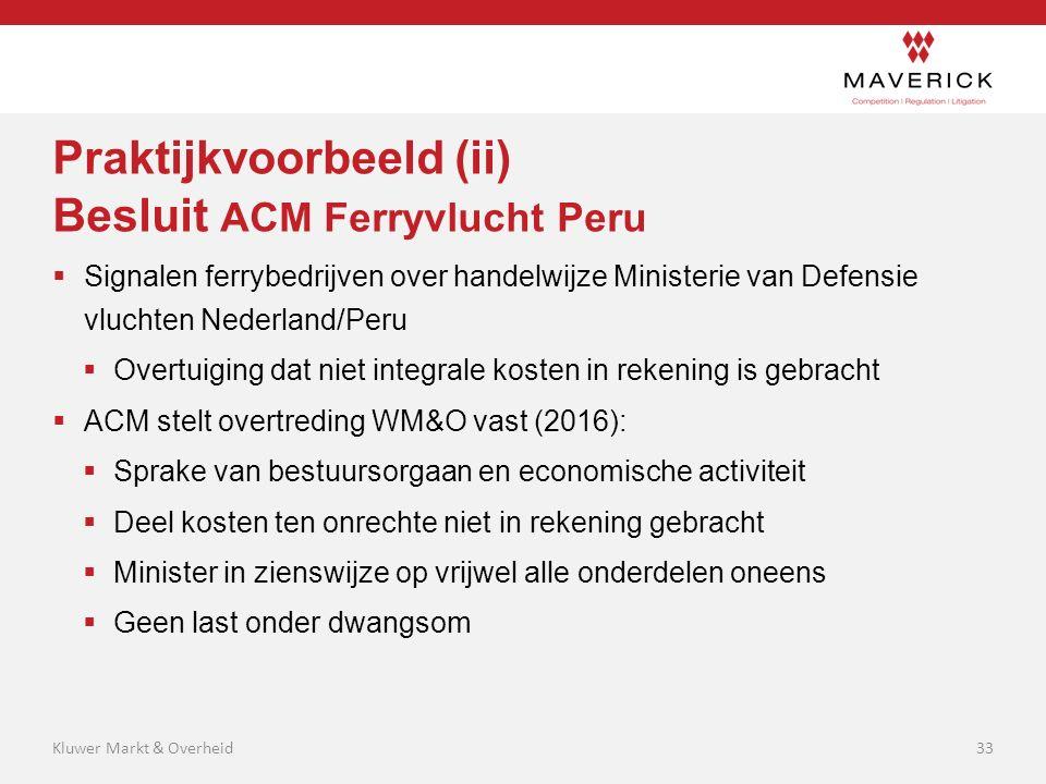 Praktijkvoorbeeld (ii) Besluit ACM Ferryvlucht Peru  Signalen ferrybedrijven over handelwijze Ministerie van Defensie vluchten Nederland/Peru  Overt