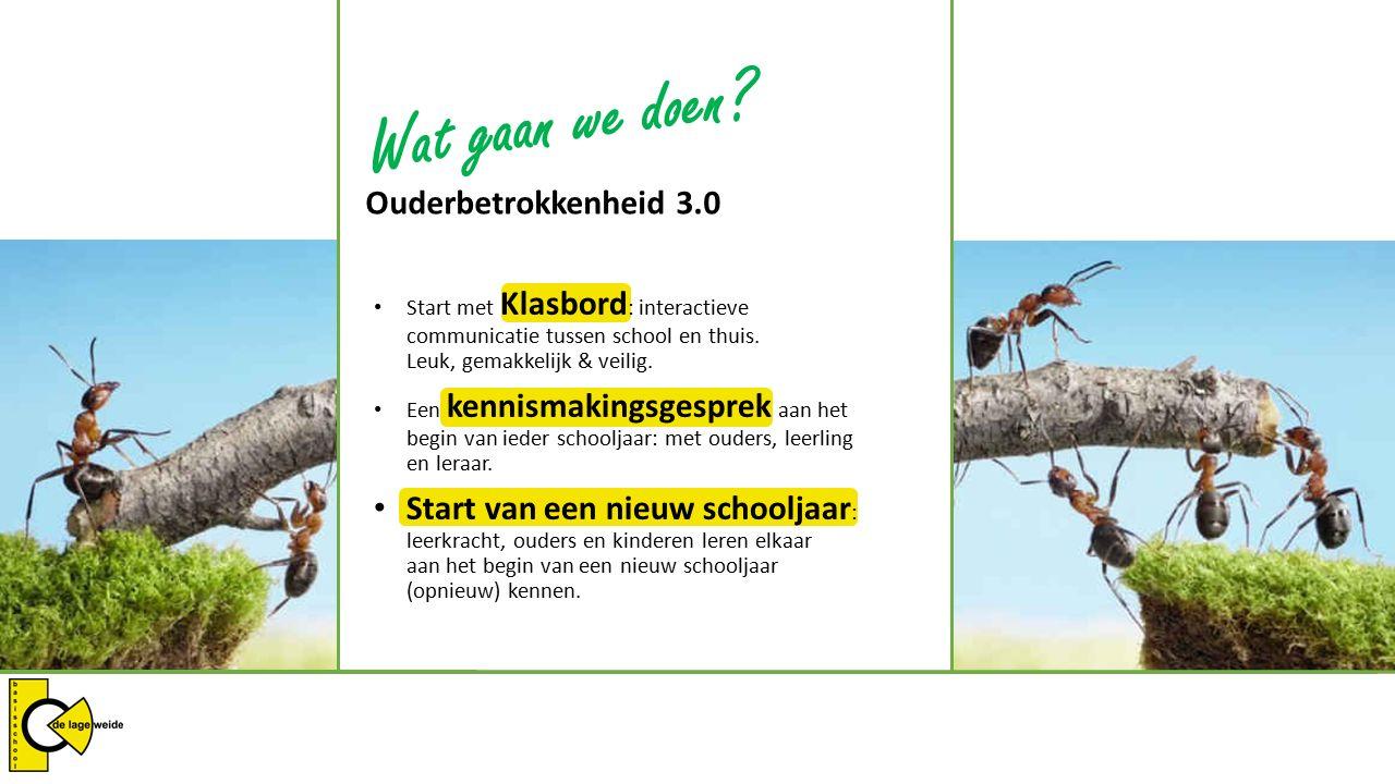 Ouderbetrokkenheid 3.0 Voor leerkrachten Ouderbetrokkenheid 3.0 betekent voor leerkrachten in essentie niets anders dan ouders informeren en het samen zoeken naar nieuwe informatie met voor beide partijen een helder doel: De ontwikkeling van de leerling/kind.