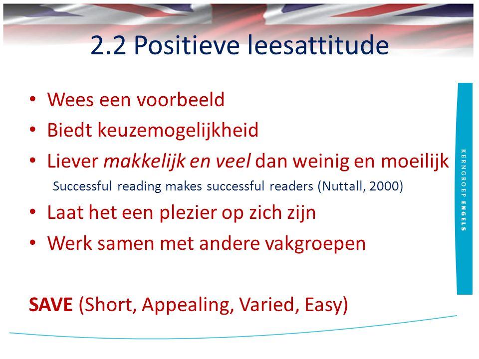 2.2 Positieve leesattitude Wees een voorbeeld Biedt keuzemogelijkheid Liever makkelijk en veel dan weinig en moeilijk Successful reading makes successful readers (Nuttall, 2000) Laat het een plezier op zich zijn Werk samen met andere vakgroepen SAVE (Short, Appealing, Varied, Easy)