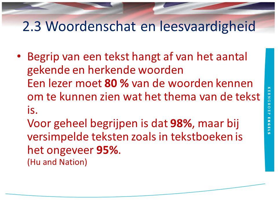2.3 Woordenschat en leesvaardigheid Begrip van een tekst hangt af van het aantal gekende en herkende woorden Een lezer moet 80 % van de woorden kennen om te kunnen zien wat het thema van de tekst is.