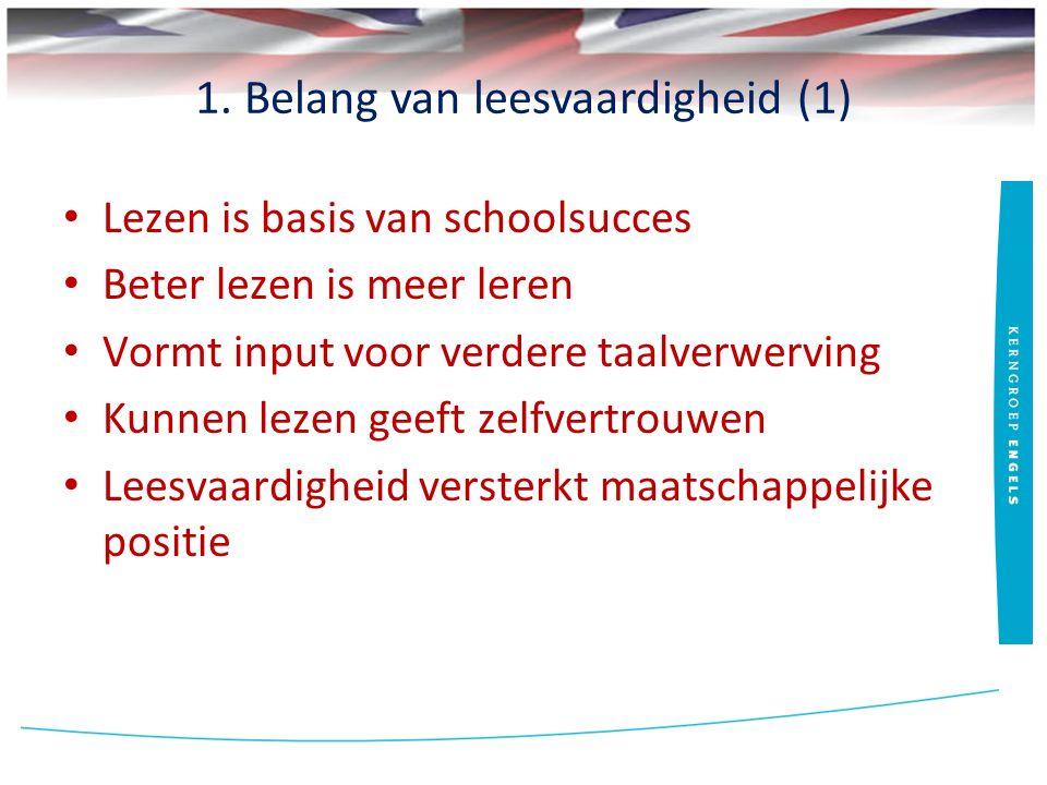 1. Belang van leesvaardigheid (1) Lezen is basis van schoolsucces Beter lezen is meer leren Vormt input voor verdere taalverwerving Kunnen lezen geeft
