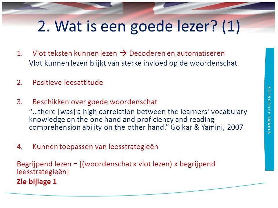 2. Wat is een goede lezer? (1) 1.Vlot teksten kunnen lezen  Decoderen en automatiseren Vlot kunnen lezen blijkt van sterke invloed op de woordenschat