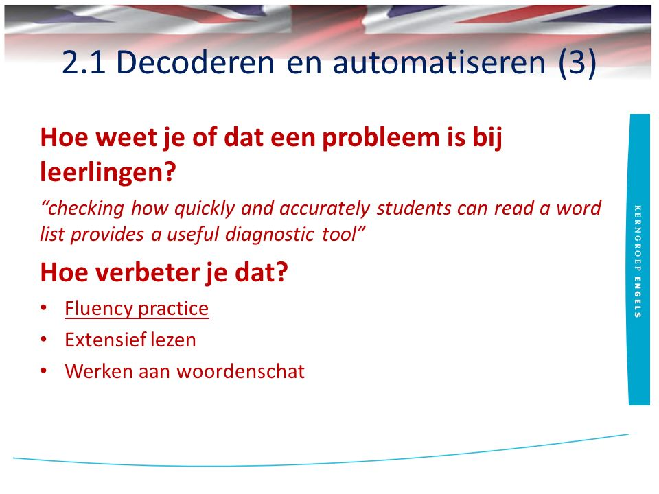 """2.1 Decoderen en automatiseren (3) Hoe weet je of dat een probleem is bij leerlingen? """"checking how quickly and accurately students can read a word li"""