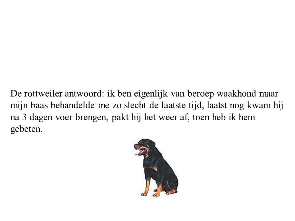 Een rottweiler en een Deense dog zitten bij de dierenarts,zegt de Deense dog:waarom ben jij hier?