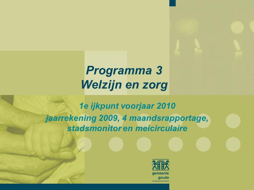 Programma 3 Welzijn en zorg 1e ijkpunt voorjaar 2010 jaarrekening 2009, 4 maandsrapportage, stadsmonitor en meicirculaire
