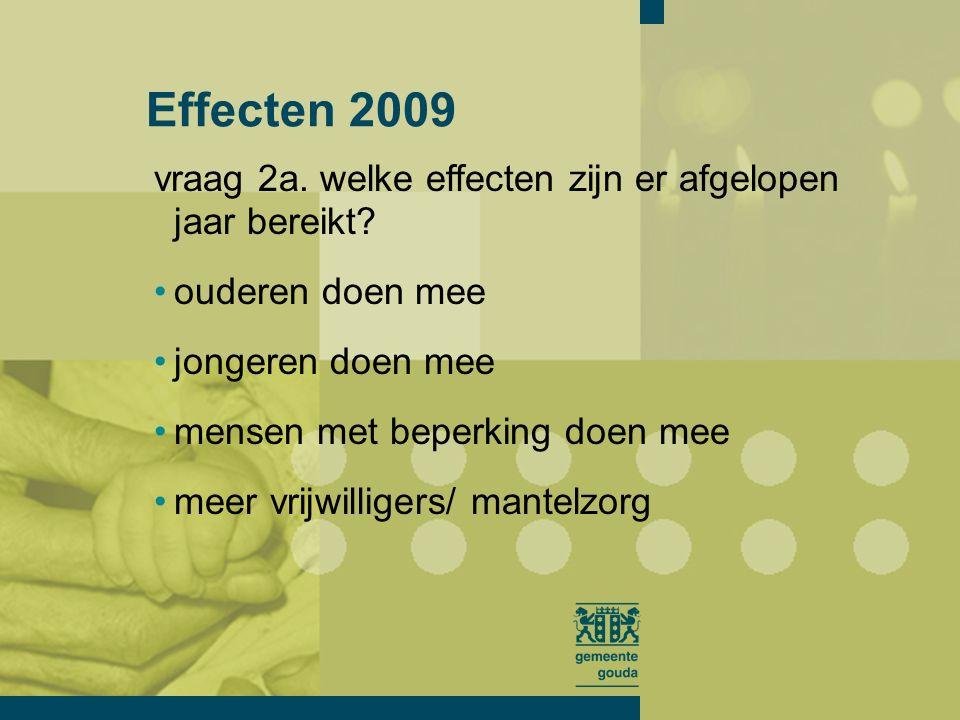 vraag 2a. welke effecten zijn er afgelopen jaar bereikt? Effecten 2009