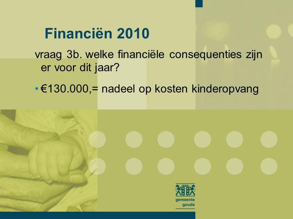 vraag 3b. welke financiële consequenties zijn er voor dit jaar.