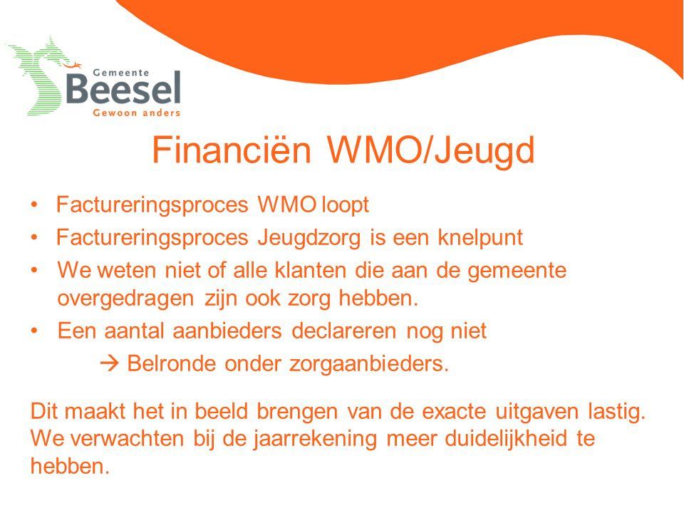 Financiën WMO/Jeugd Factureringsproces WMO loopt Factureringsproces Jeugdzorg is een knelpunt We weten niet of alle klanten die aan de gemeente overge