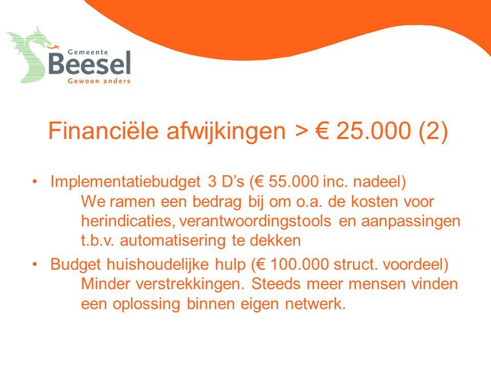 Implementatiebudget 3 D's (€ 55.000 inc. nadeel) We ramen een bedrag bij om o.a. de kosten voor herindicaties,verantwoordingstools en aanpassingen t.b