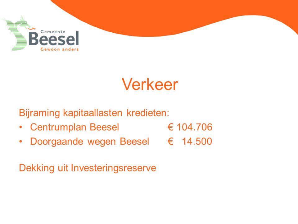 Verkeer Bijraming kapitaallasten kredieten: Centrumplan Beesel€ 104.706 Doorgaande wegen Beesel€ 14.500 Dekking uit Investeringsreserve