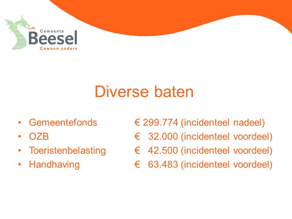 Diverse baten Gemeentefonds€ 299.774 (incidenteel nadeel) OZB€ 32.000 (incidenteel voordeel) Toeristenbelasting€ 42.500 (incidenteel voordeel) Handhav