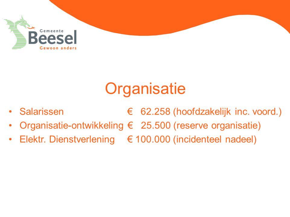 Organisatie Salarissen € 62.258 (hoofdzakelijk inc. voord.) Organisatie-ontwikkeling € 25.500 (reserve organisatie) Elektr. Dienstverlening € 100.000