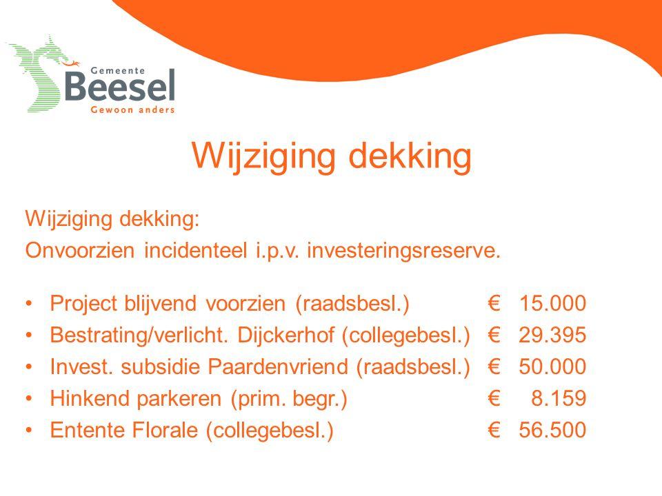 Wijziging dekking Wijziging dekking: Onvoorzien incidenteel i.p.v. investeringsreserve. Project blijvend voorzien (raadsbesl.) € 15.000 Bestrating/ver