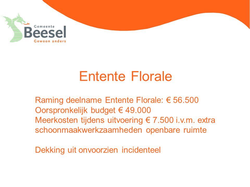 Entente Florale Raming deelname Entente Florale: € 56.500 Oorspronkelijk budget € 49.000 Meerkosten tijdens uitvoering € 7.500 i.v.m. extra schoonmaak