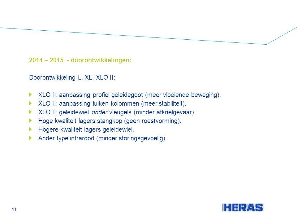2014 – 2015 - doorontwikkelingen: Doorontwikkeling L, XL, XLO II: XLO II: aanpassing profiel geleidegoot (meer vloeiende beweging).