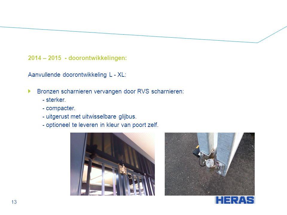 2014 – 2015 - doorontwikkelingen: Aanvullende doorontwikkeling L - XL: Bronzen scharnieren vervangen door RVS scharnieren: - sterker.