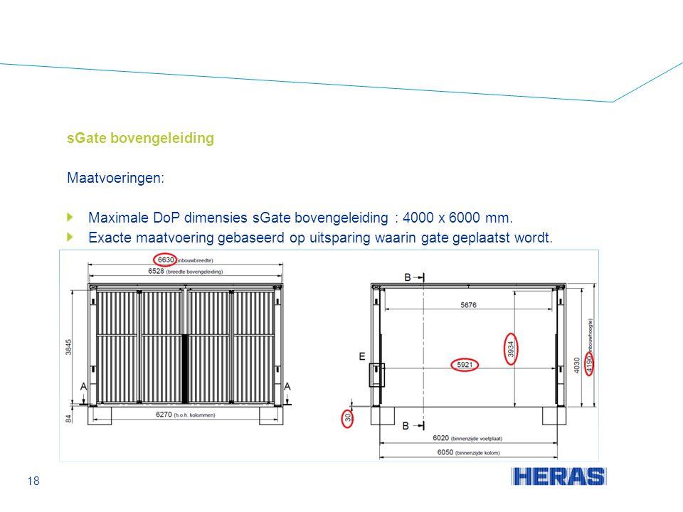 sGate bovengeleiding Maatvoeringen: Maximale DoP dimensies sGate bovengeleiding : 4000 x 6000 mm.