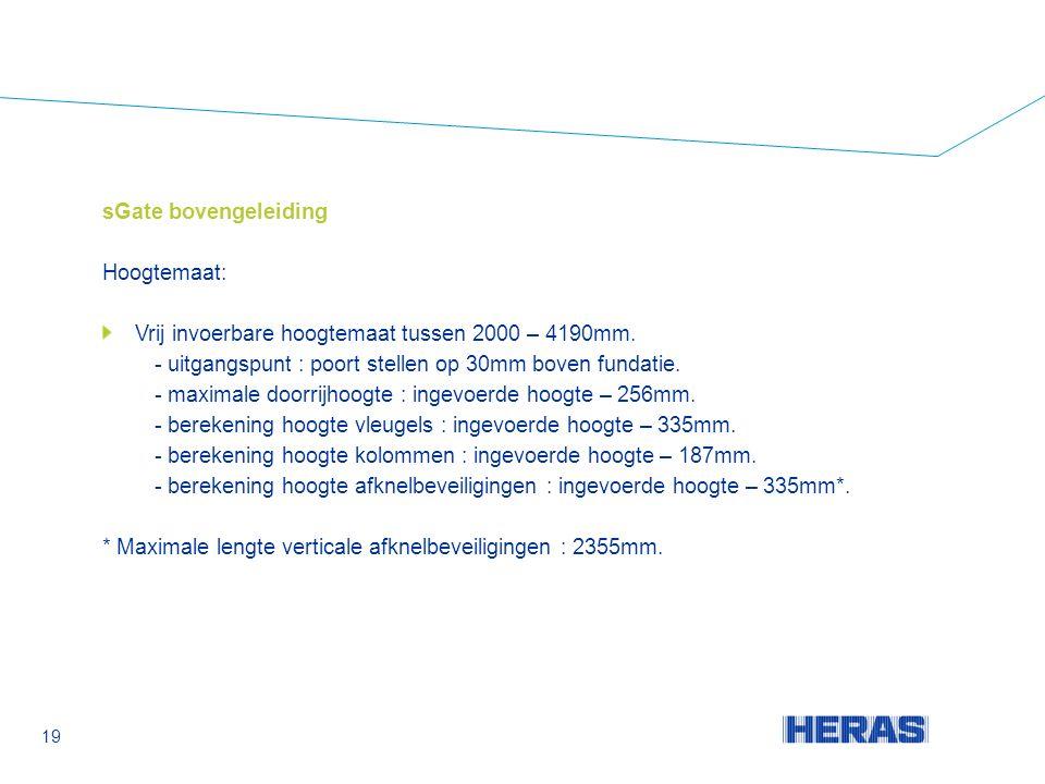 sGate bovengeleiding Hoogtemaat: Vrij invoerbare hoogtemaat tussen 2000 – 4190mm.