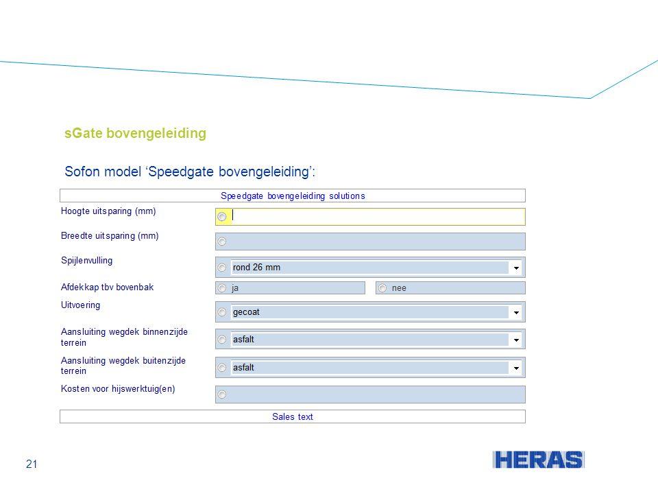sGate bovengeleiding Sofon model 'Speedgate bovengeleiding': 21