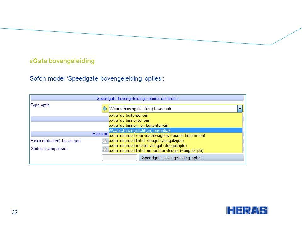 sGate bovengeleiding Sofon model 'Speedgate bovengeleiding opties': 22