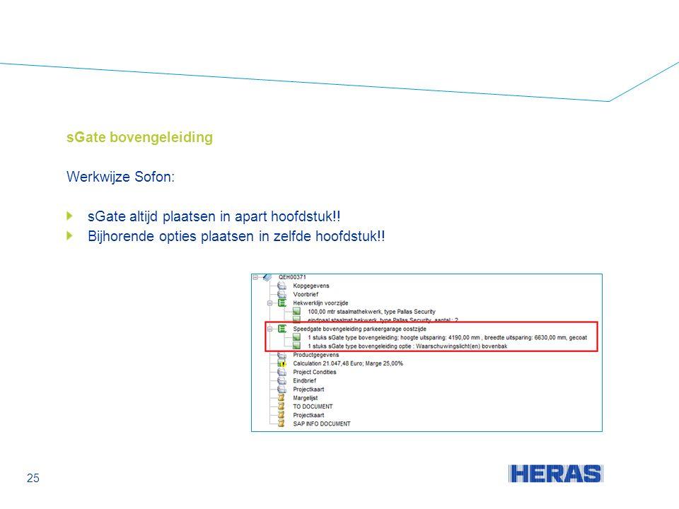 sGate bovengeleiding Werkwijze Sofon: sGate altijd plaatsen in apart hoofdstuk!.