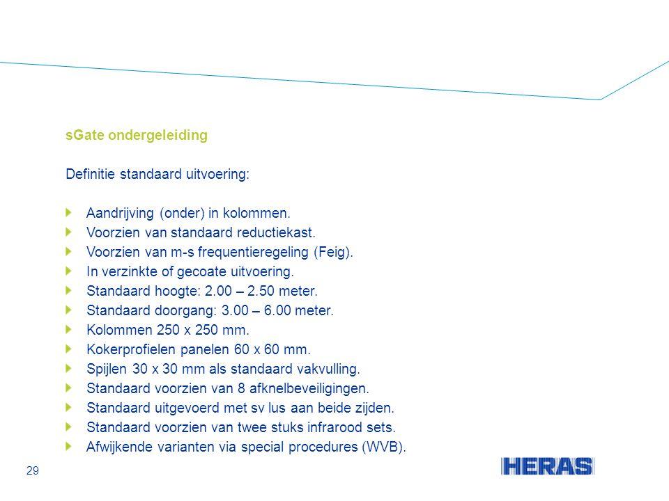 sGate ondergeleiding Definitie standaard uitvoering: Aandrijving (onder) in kolommen.