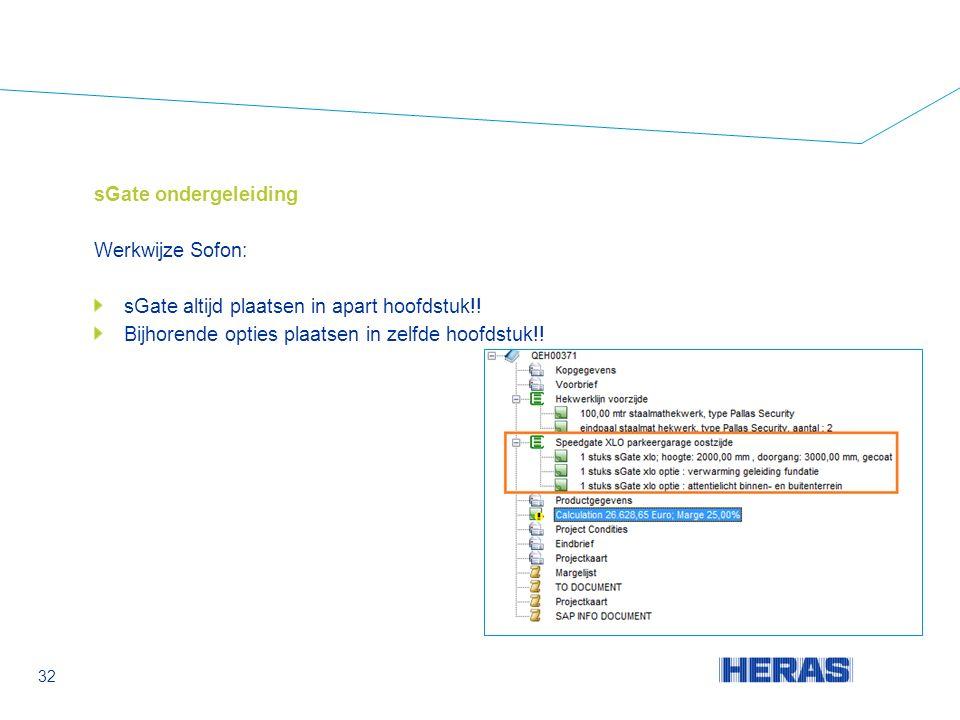 sGate ondergeleiding Werkwijze Sofon: sGate altijd plaatsen in apart hoofdstuk!.
