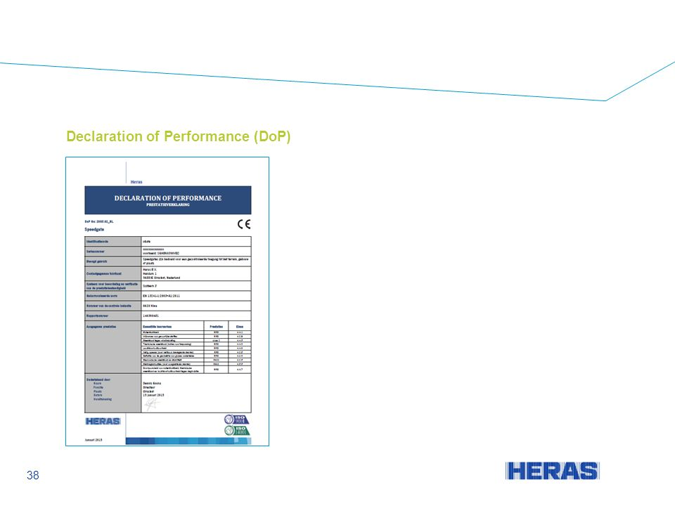 Declaration of Performance (DoP) 38