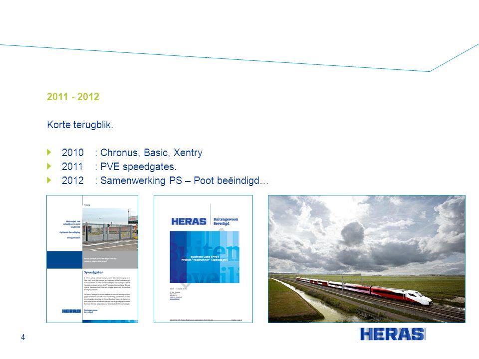 4 2011 - 2012 Korte terugblik. 2010: Chronus, Basic, Xentry 2011: PVE speedgates.