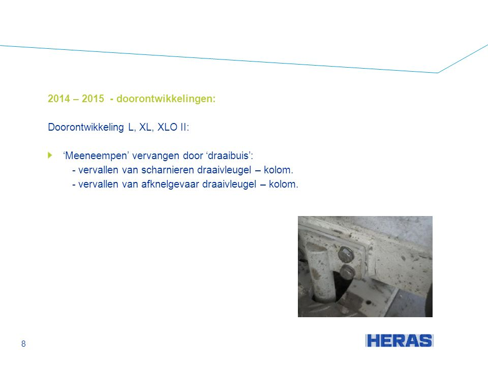 2014 – 2015 - doorontwikkelingen: Doorontwikkeling L, XL, XLO II: 'Meeneempen' vervangen door 'draaibuis': - vervallen van scharnieren draaivleugel – kolom.