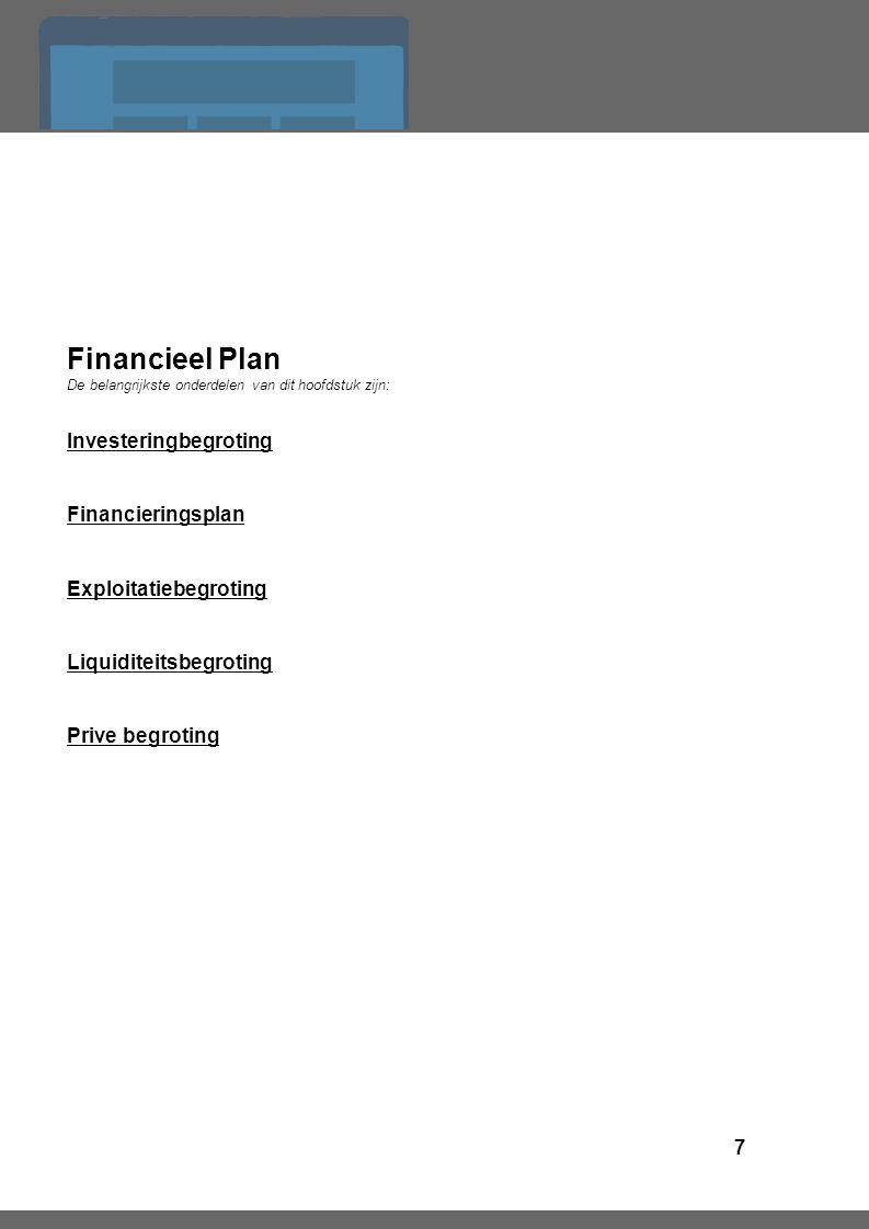 7 Financieel Plan De belangrijkste onderdelen van dit hoofdstuk zijn: Investeringbegroting Financieringsplan Exploitatiebegroting Liquiditeitsbegroting Prive begroting