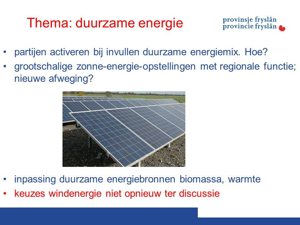 Thema: duurzame energie partijen activeren bij invullen duurzame energiemix.