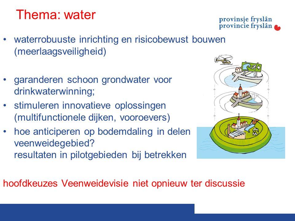 Thema: water waterrobuuste inrichting en risicobewust bouwen (meerlaagsveiligheid) garanderen schoon grondwater voor drinkwaterwinning; stimuleren innovatieve oplossingen (multifunctionele dijken, vooroevers) hoe anticiperen op bodemdaling in delen veenweidegebied.
