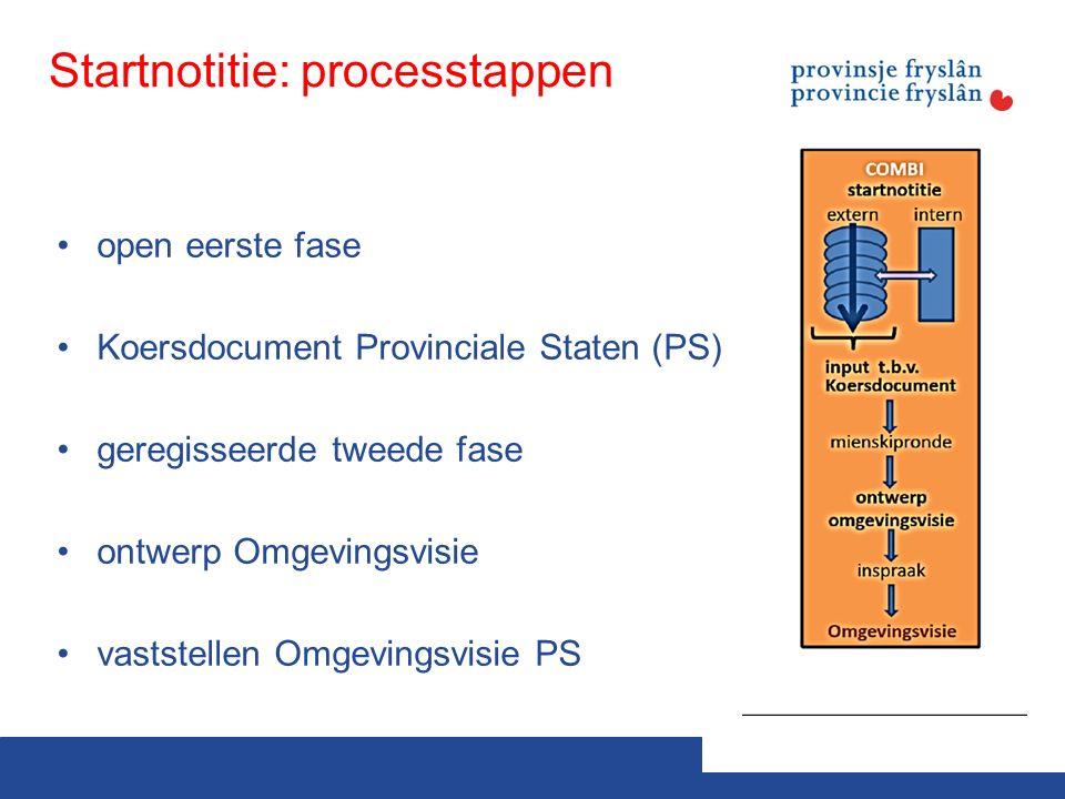 Startnotitie: processtappen open eerste fase Koersdocument Provinciale Staten (PS) geregisseerde tweede fase ontwerp Omgevingsvisie vaststellen Omgevingsvisie PS