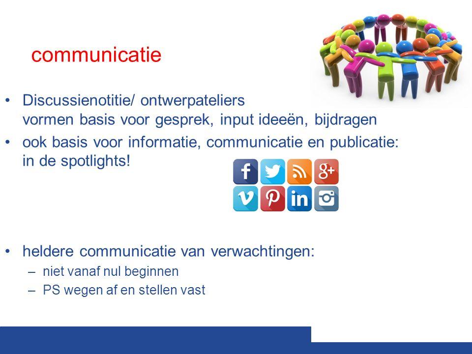 communicatie Discussienotitie/ ontwerpateliers vormen basis voor gesprek, input ideeën, bijdragen ook basis voor informatie, communicatie en publicatie: in de spotlights.