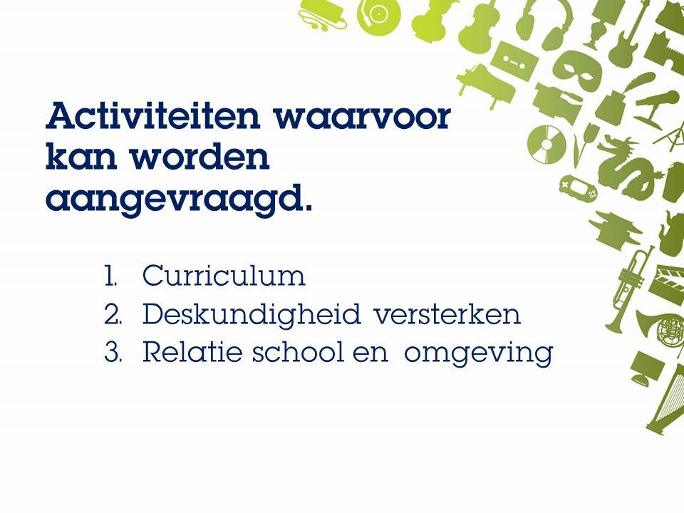 Activiteiten waarvoor kan worden aangevraagd. 1. Curriculum 2.