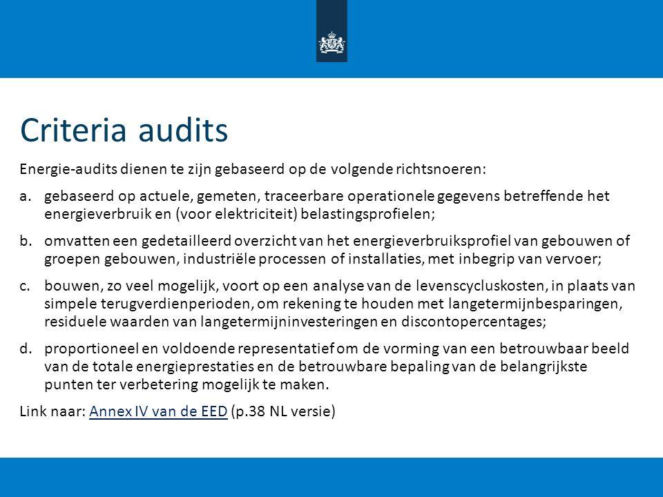 Criteria audits Energie-audits dienen te zijn gebaseerd op de volgende richtsnoeren: a.gebaseerd op actuele, gemeten, traceerbare operationele gegeven