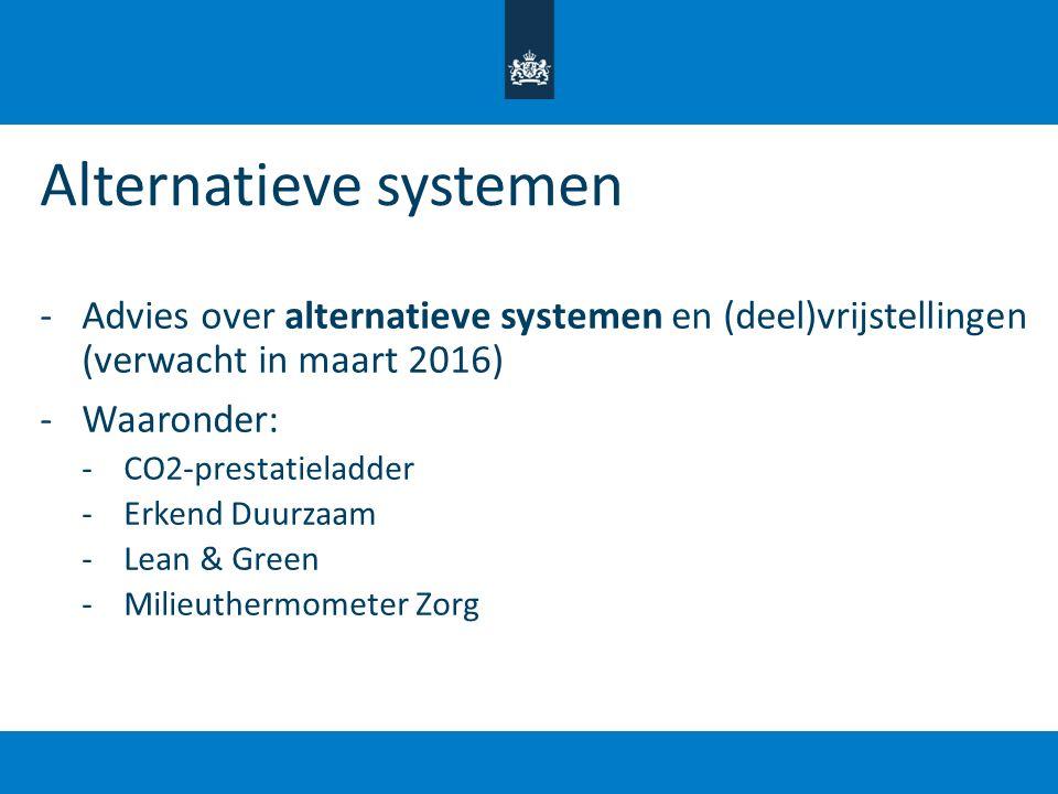 Alternatieve systemen -Advies over alternatieve systemen en (deel)vrijstellingen (verwacht in maart 2016) -Waaronder: -CO2-prestatieladder -Erkend Duu