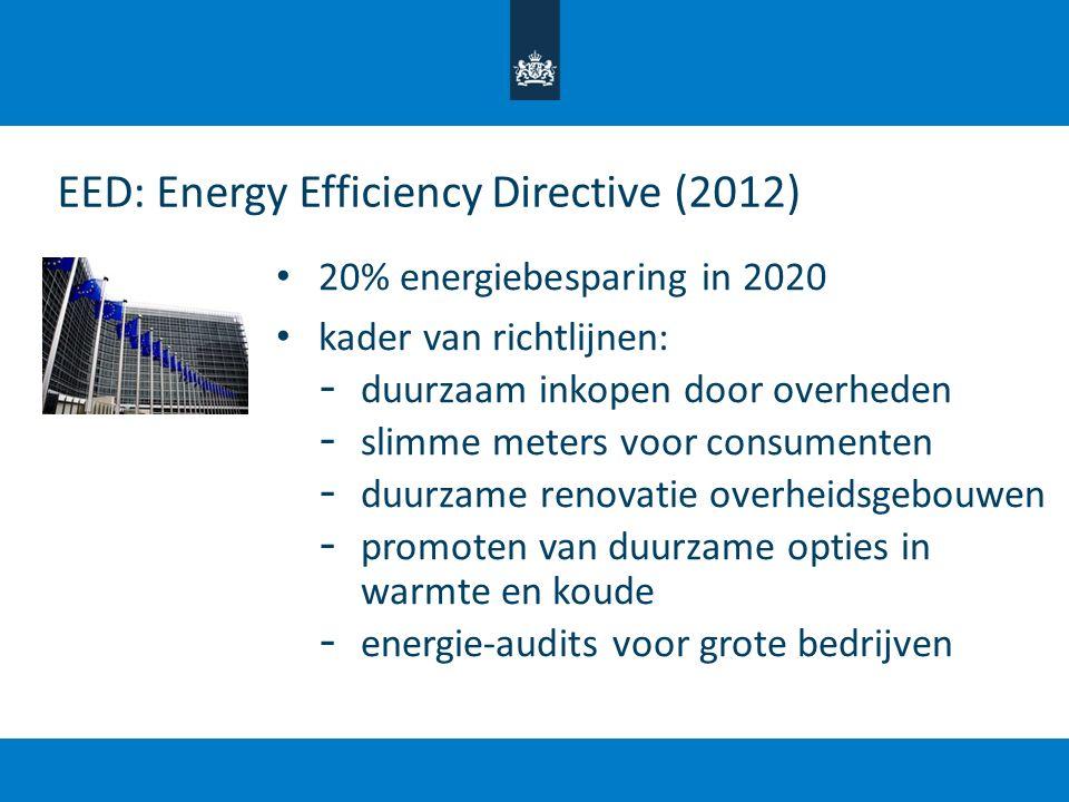 20% energiebesparing in 2020 kader van richtlijnen: - duurzaam inkopen door overheden - slimme meters voor consumenten - duurzame renovatie overheidsg