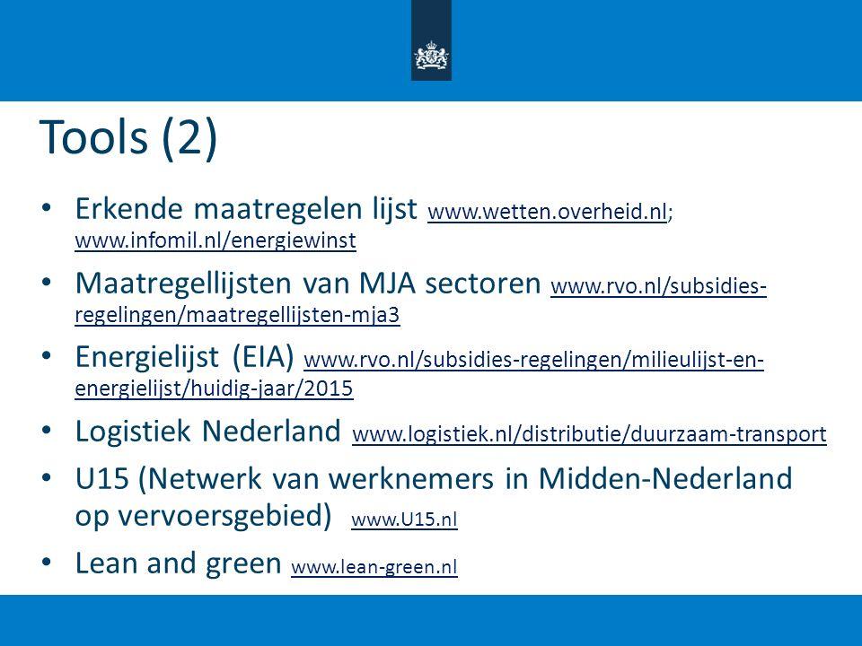 Tools (2) Erkende maatregelen lijst www.wetten.overheid.nl; www.infomil.nl/energiewinst www.wetten.overheid.nl www.infomil.nl/energiewinst Maatregelli